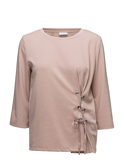VIDELIA DRAWSTRING 3/4 SLEEVE TOP - ADOBE ROSE