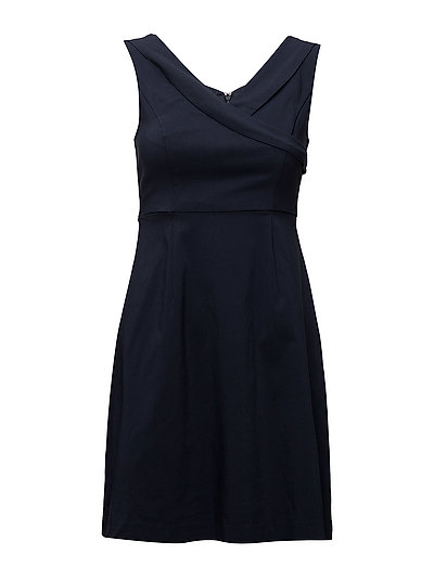 VIATLIA S/L V-NECK SHORT DRESS/STU - TOTAL ECLIPSE