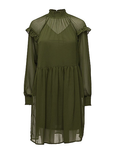 VIMULLA L/S DRESS - CHIVE