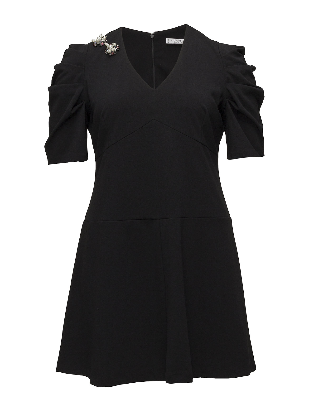 Image of Appliqus Puffed Sleeves Dress (3067542659)