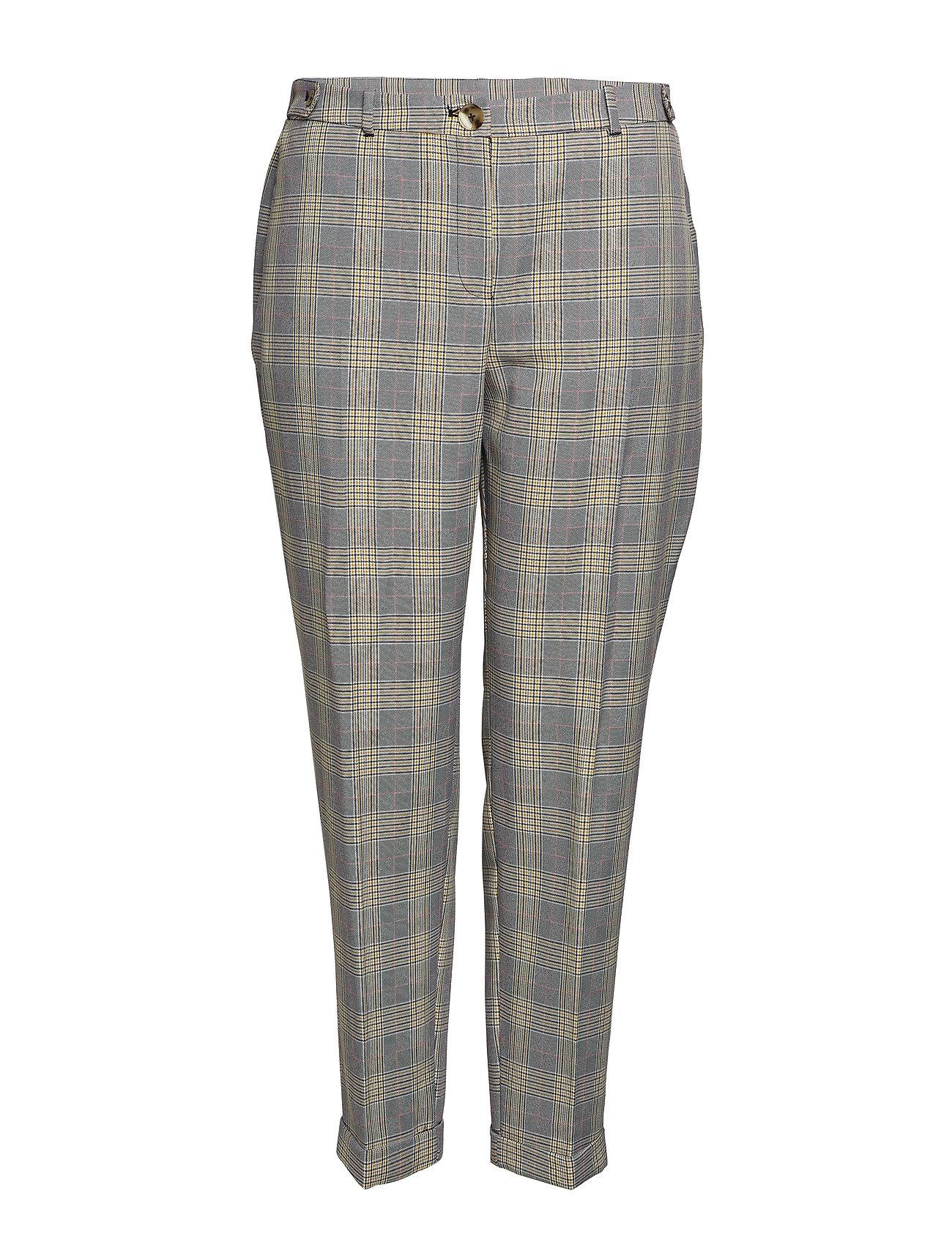 Violeta by Mango Slim-fit check-print trousers - LIGHT BEIGE