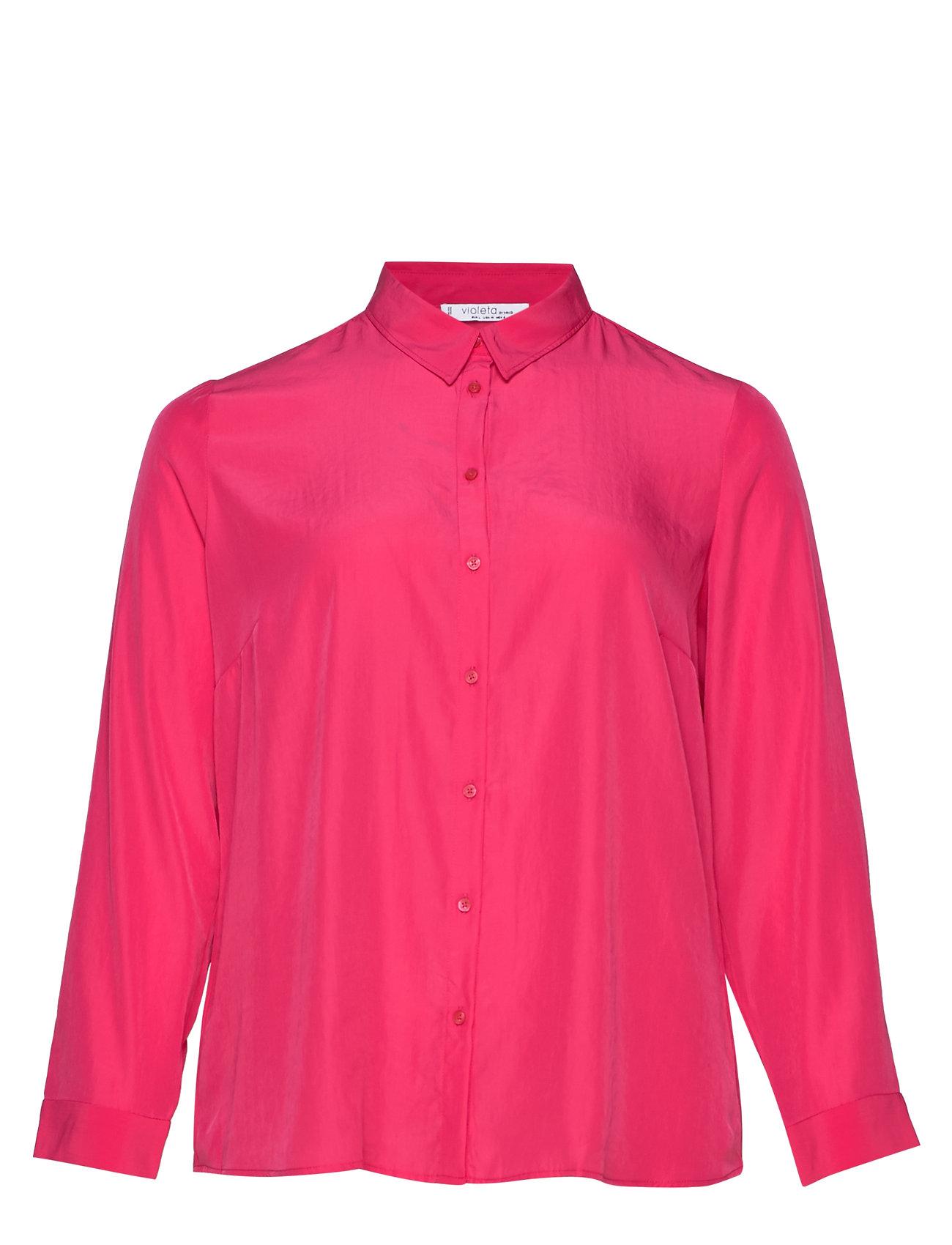 Violeta by Mango Satin buttoned shirt - BRIGHT PINK