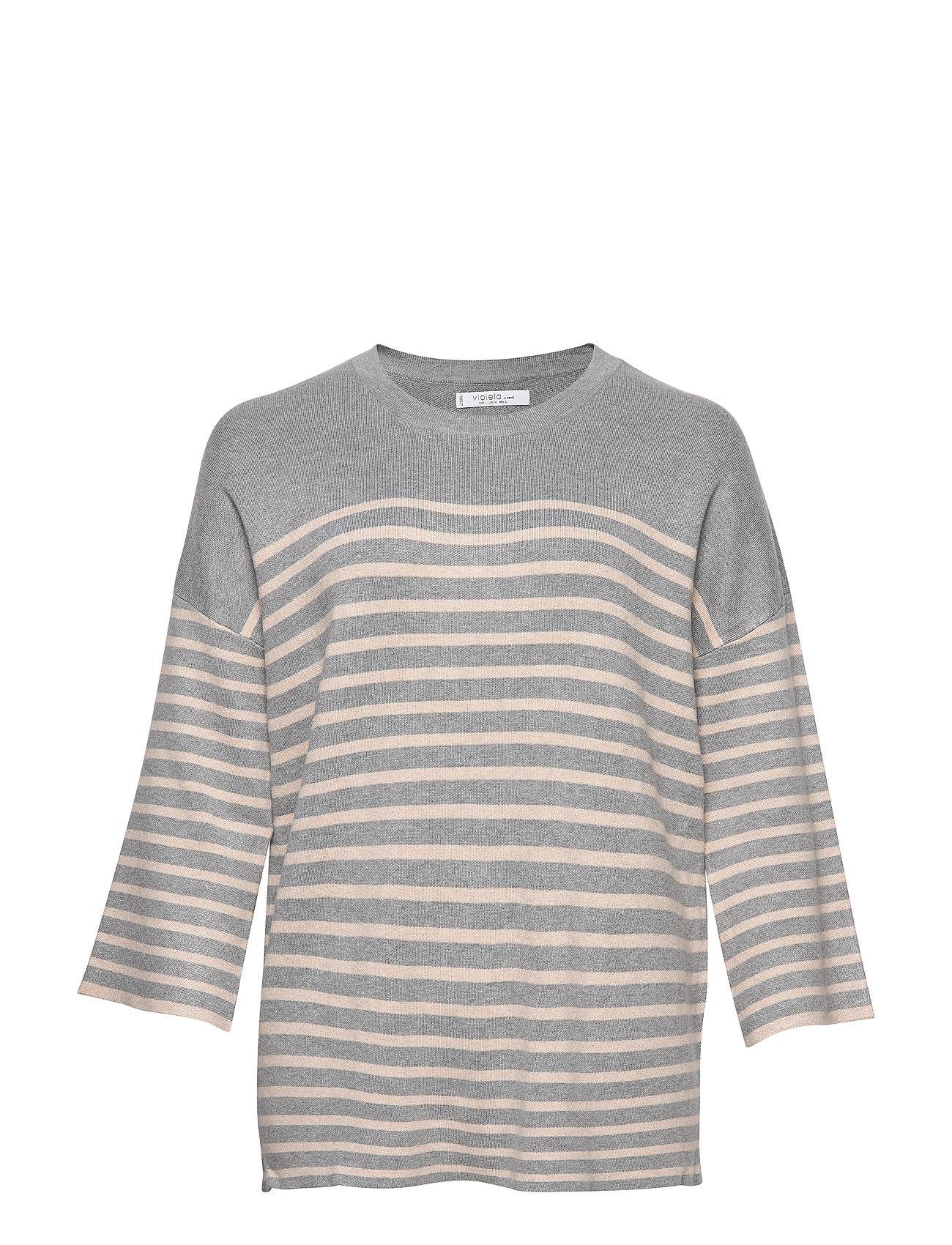 Violeta by Mango Oversize printed sweater - GREY