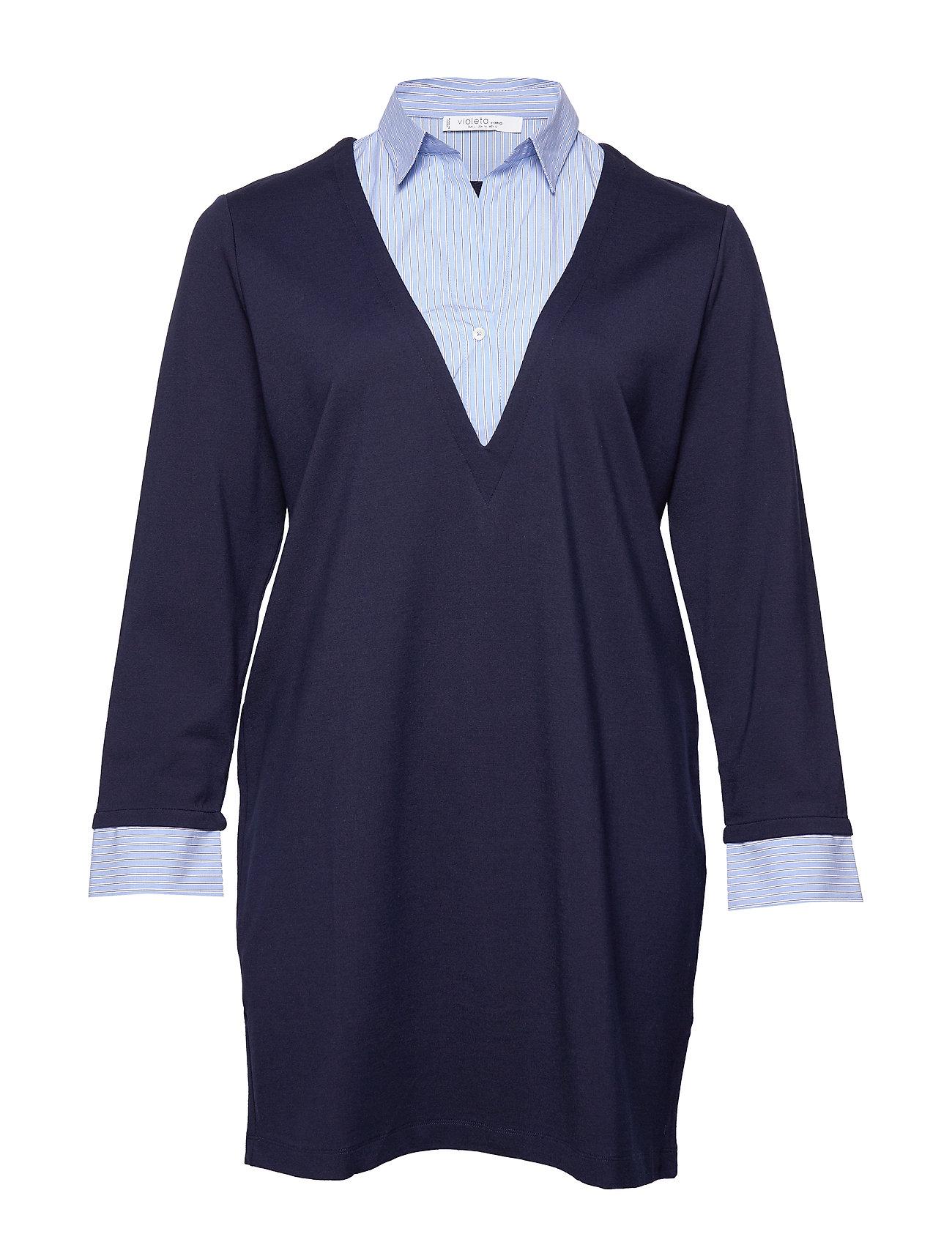 Violeta by Mango Combined shirt dress - NAVY