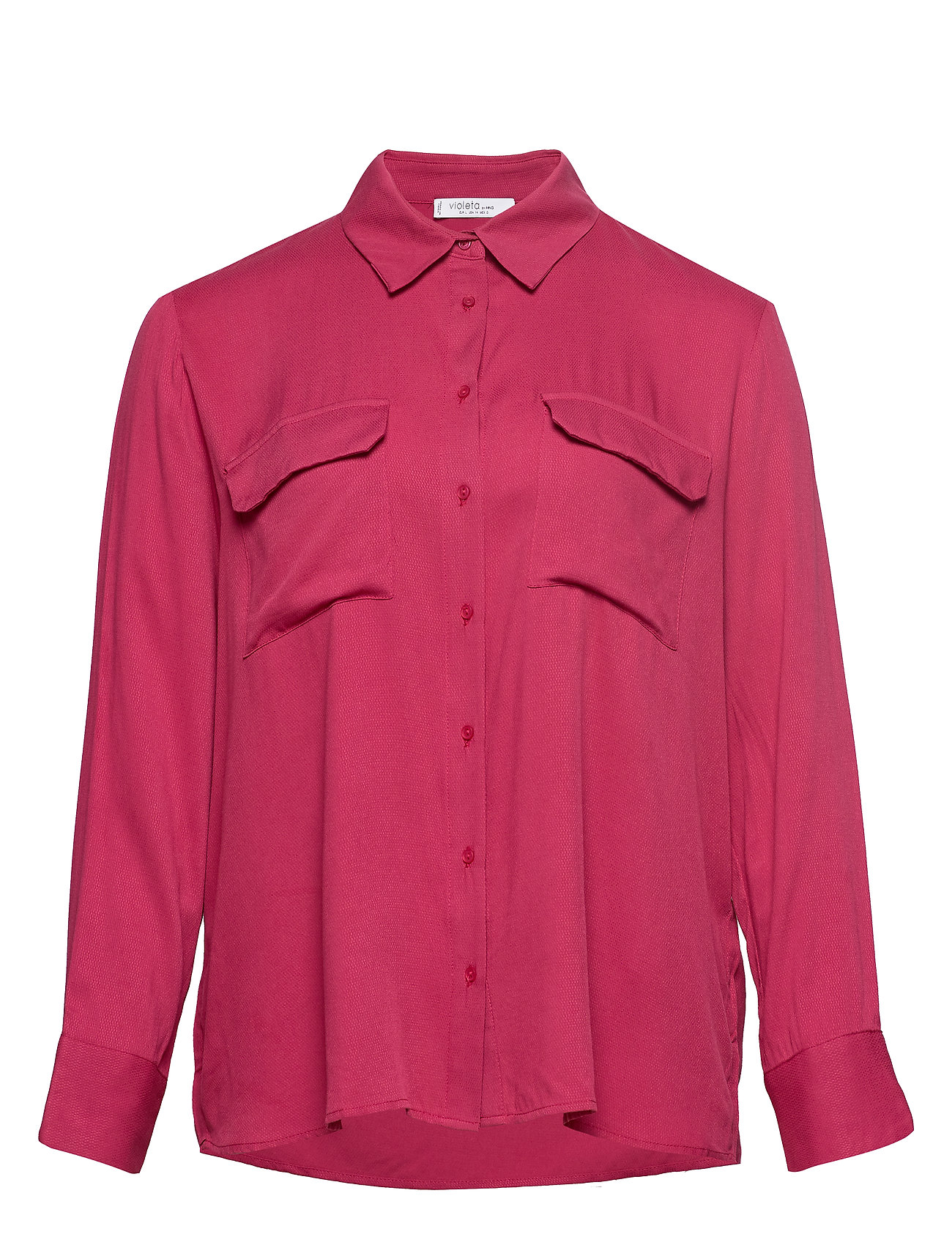 Violeta by Mango Flap pocketed shirt - DARK RED