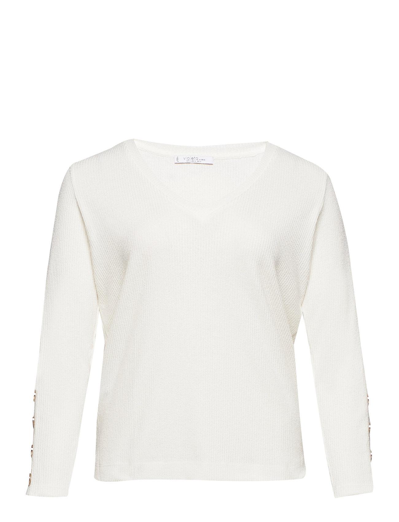 Violeta by Mango Buttoned cuffs t-shirt - NATURAL WHITE