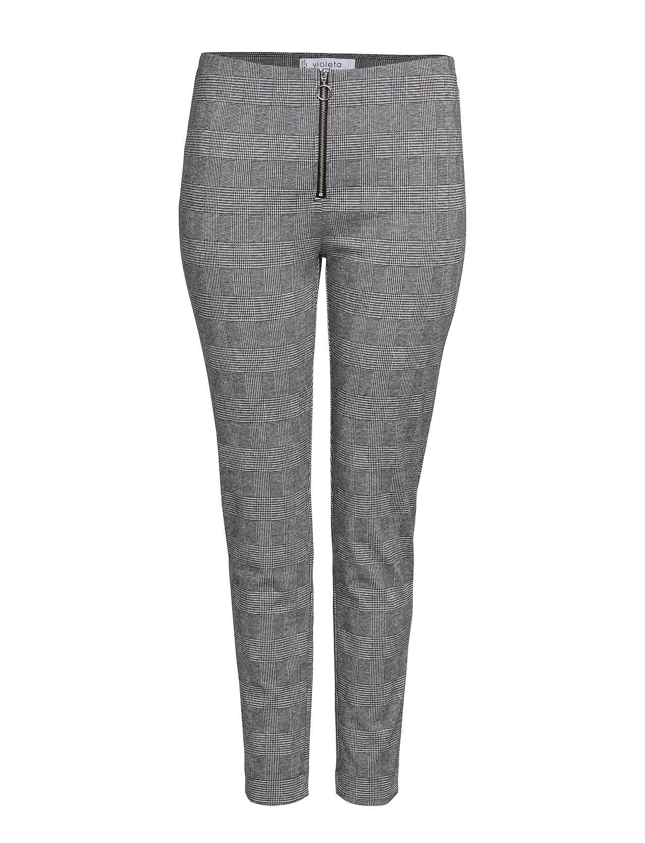 Violeta by Mango Checks print leggings - GREY