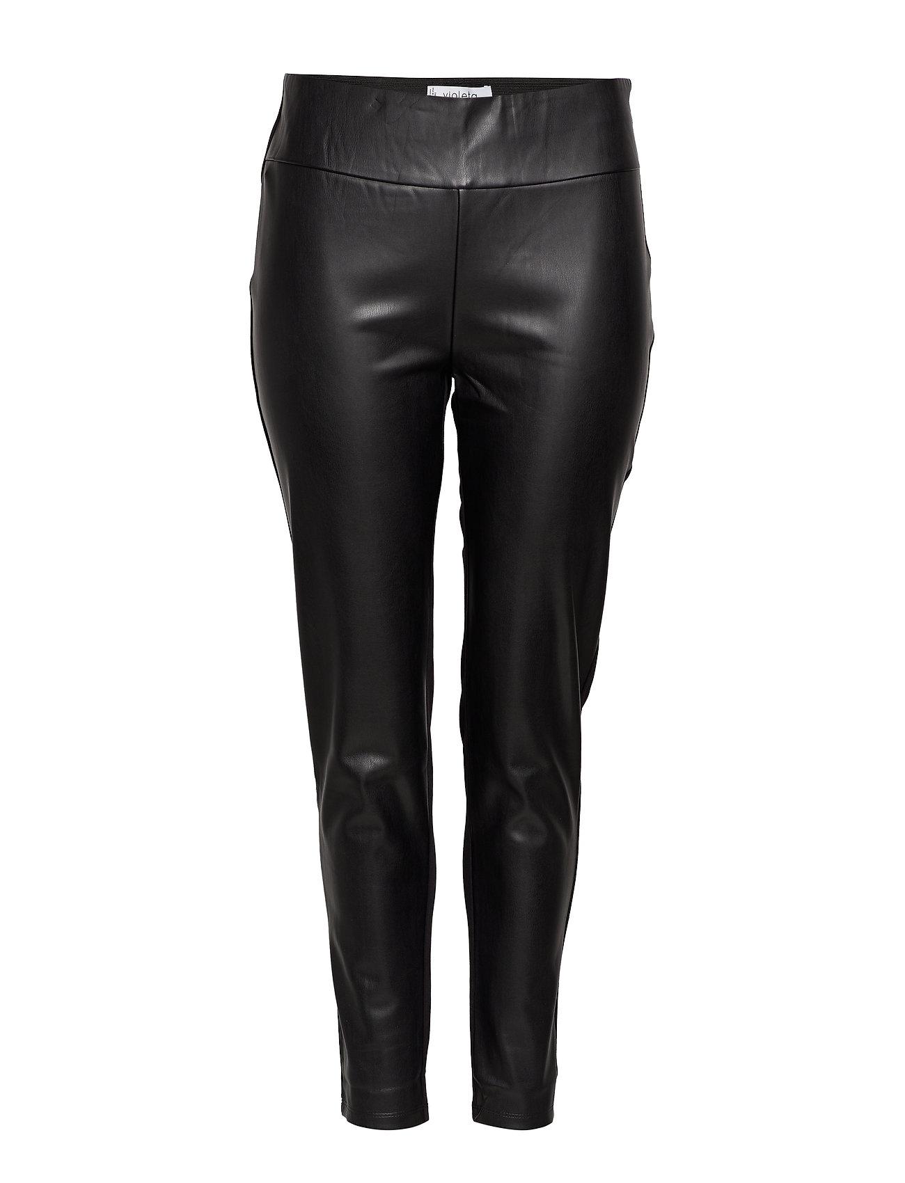 Violeta by Mango Faux leather leggings - BLACK