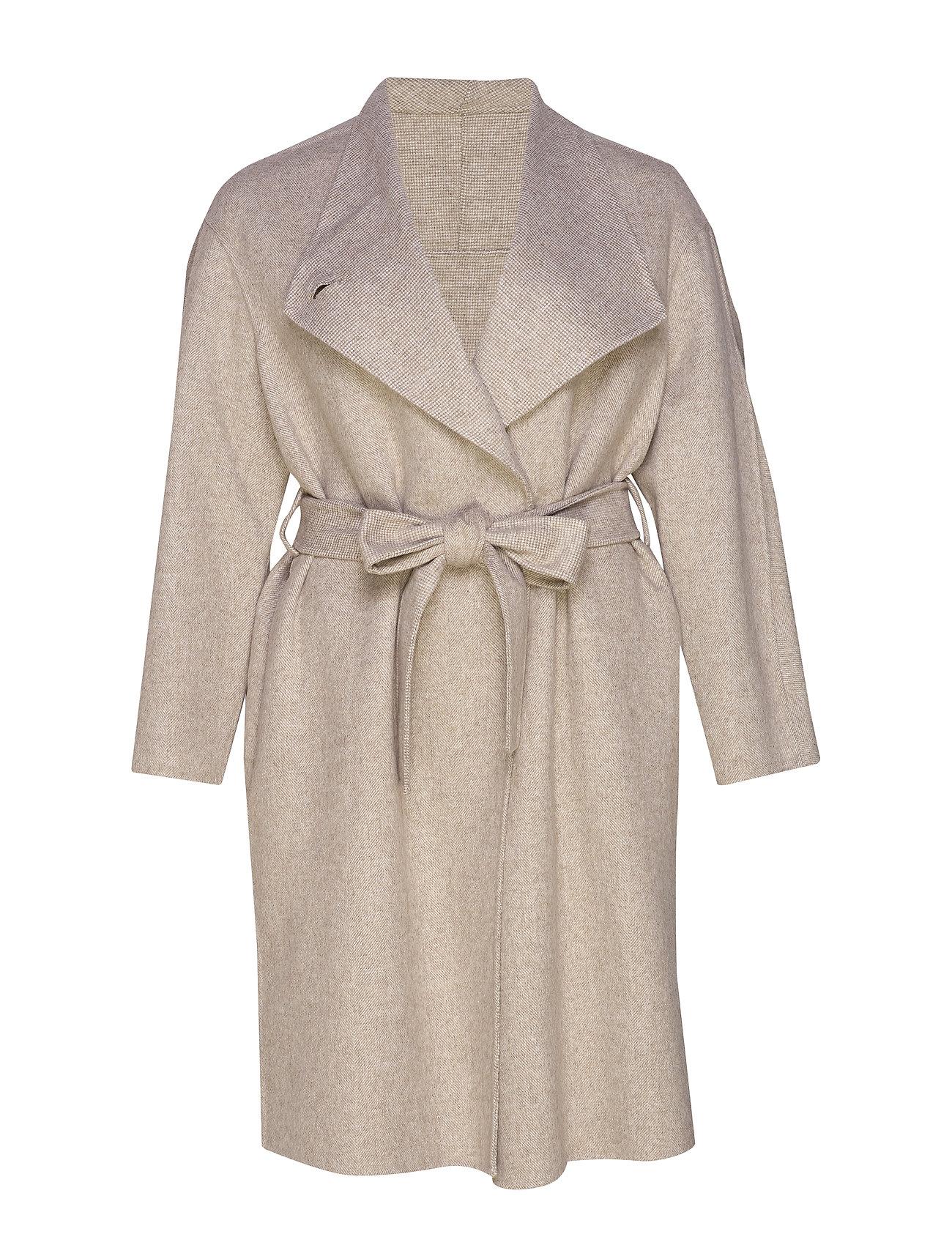 Violeta by Mango Unstructured belt coat - LIGHT BEIGE
