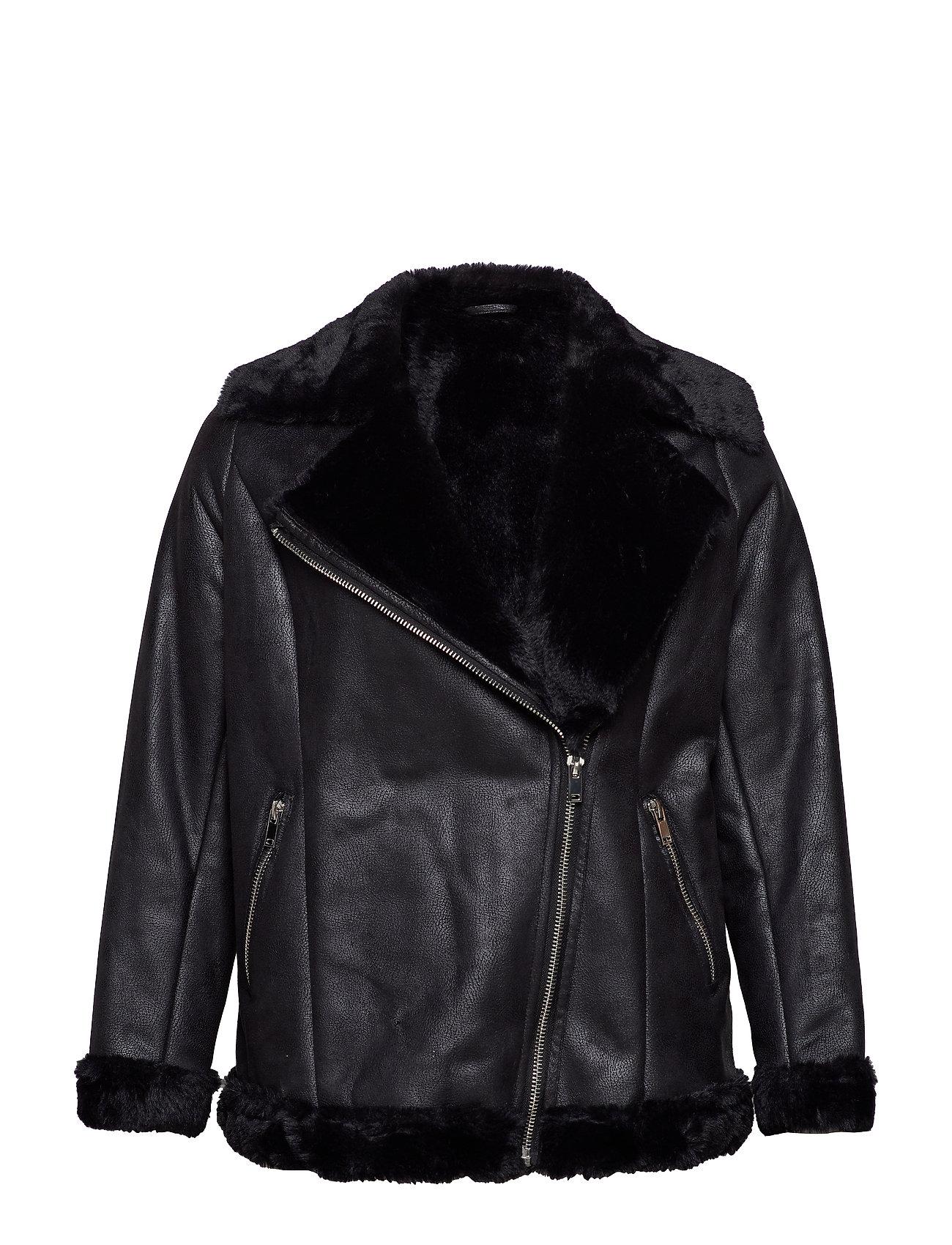 Violeta by Mango Faux fur biker jacket - BLACK