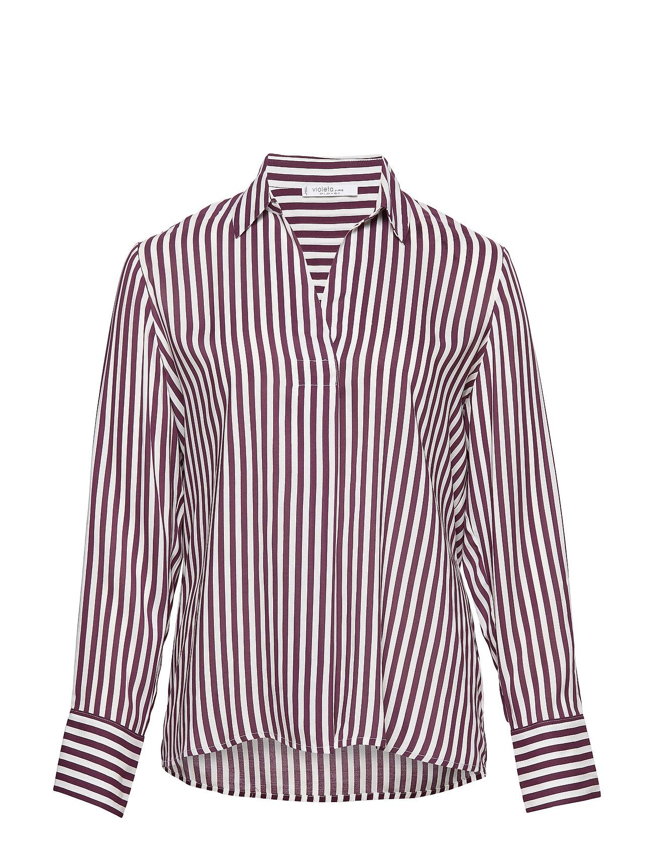 Violeta by Mango Striped modal blouse - DARK PURPLE