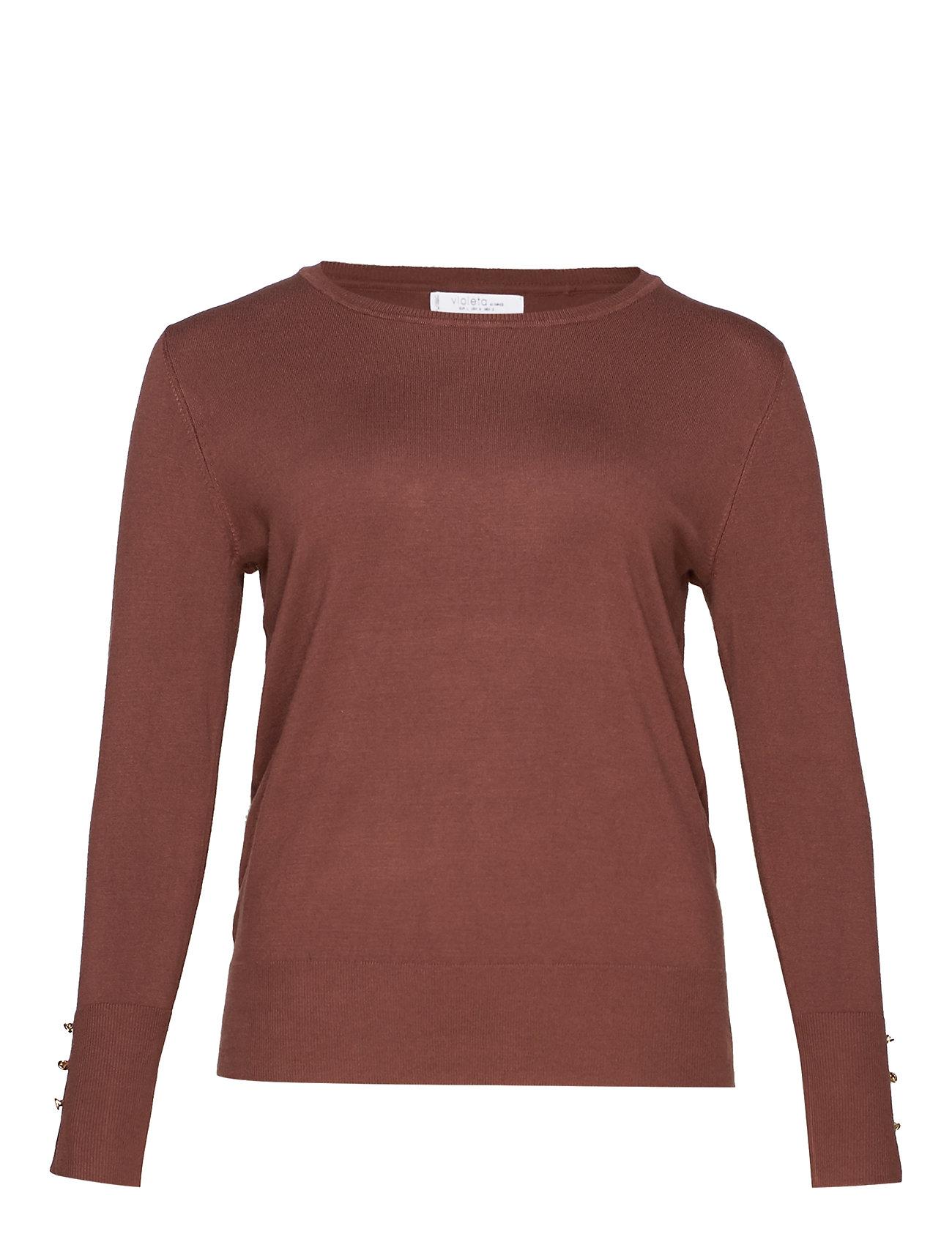 Violeta by Mango Buttoned cuffs sweater - DARK BROWN