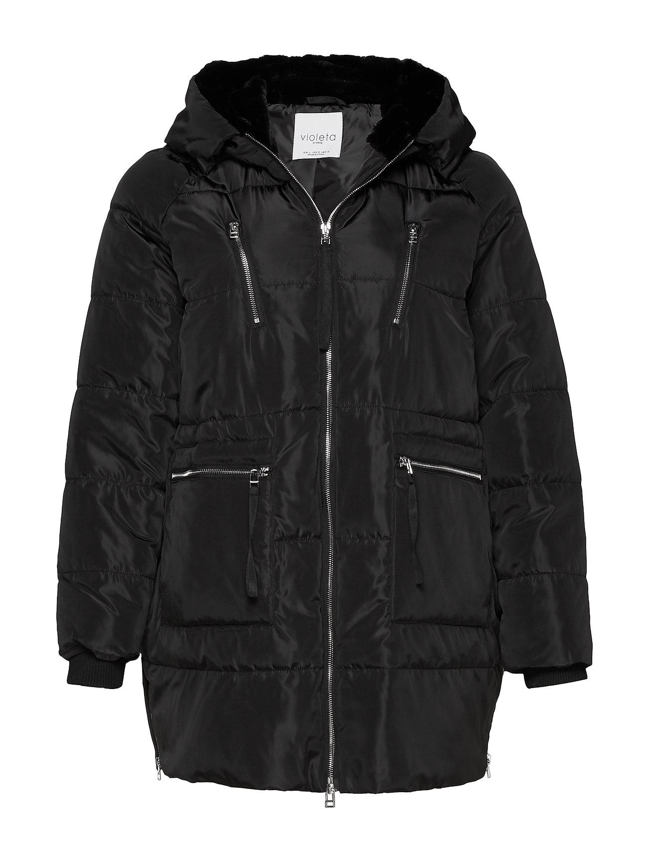 Violeta by Mango Faux fur hood coat - BLACK