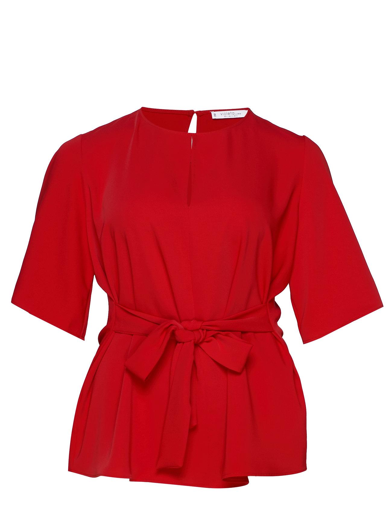 Violeta by Mango Bow waist blouse - RED