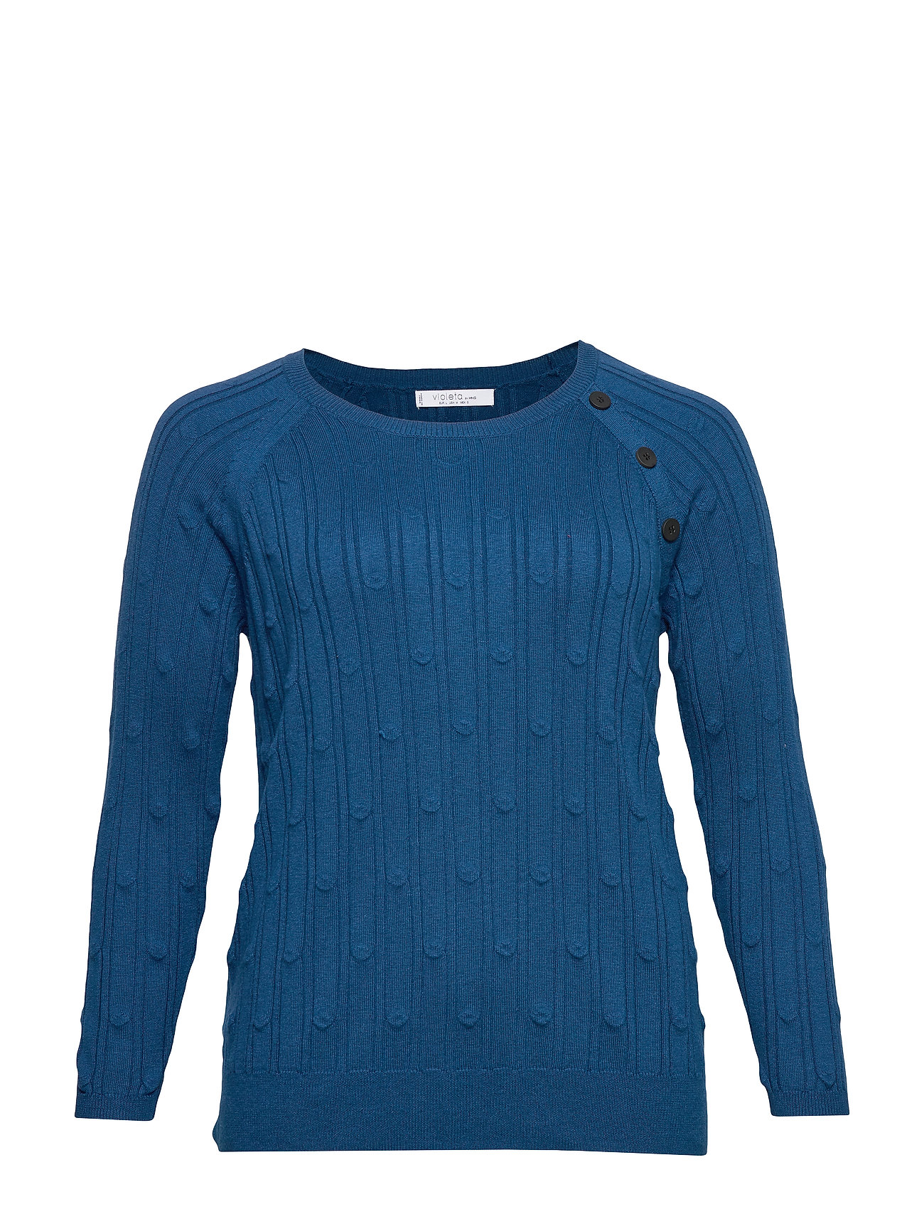 Violeta by Mango Embossed polka-dot sweater - DARK BLUE