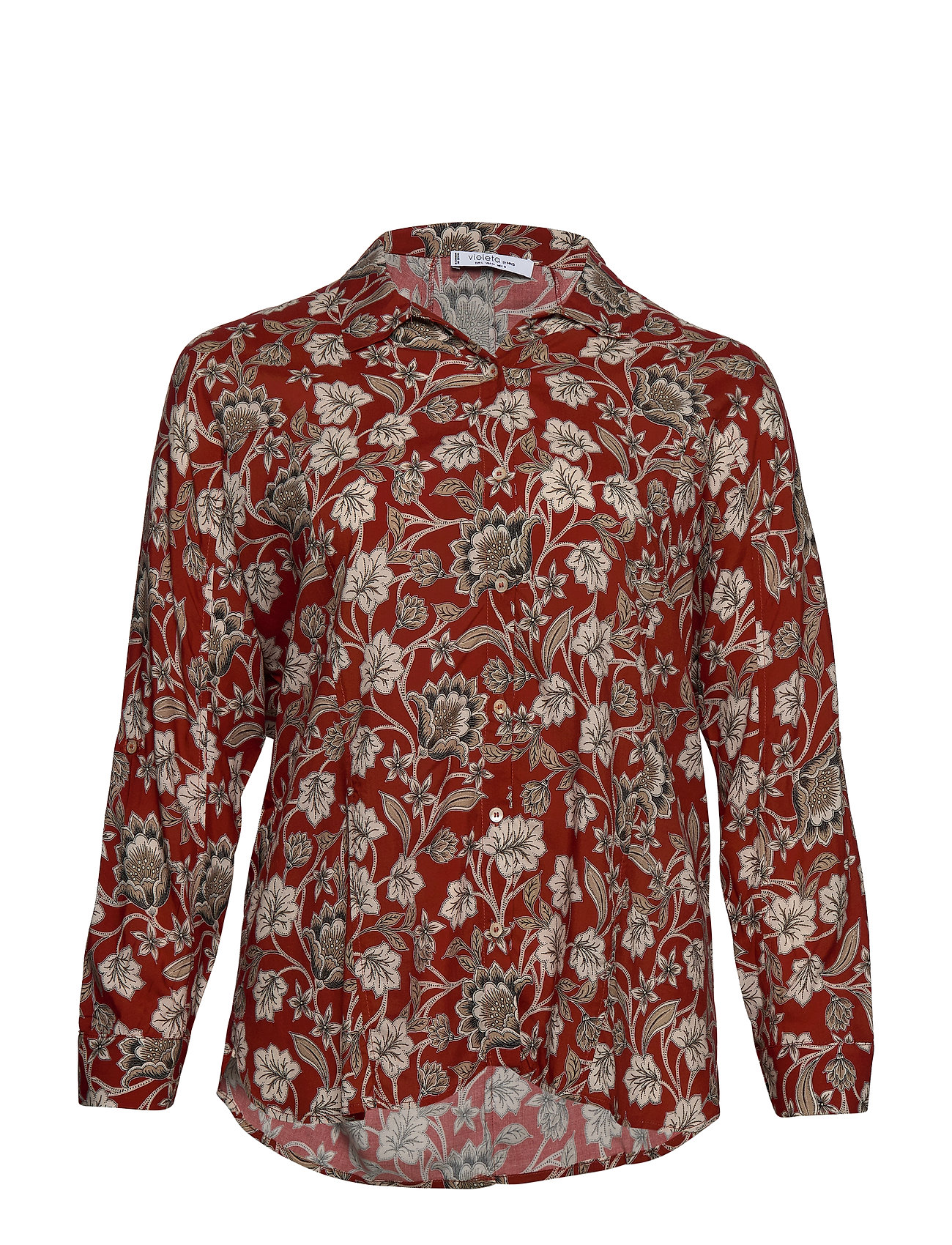 Violeta by Mango Floral print shirt - RED