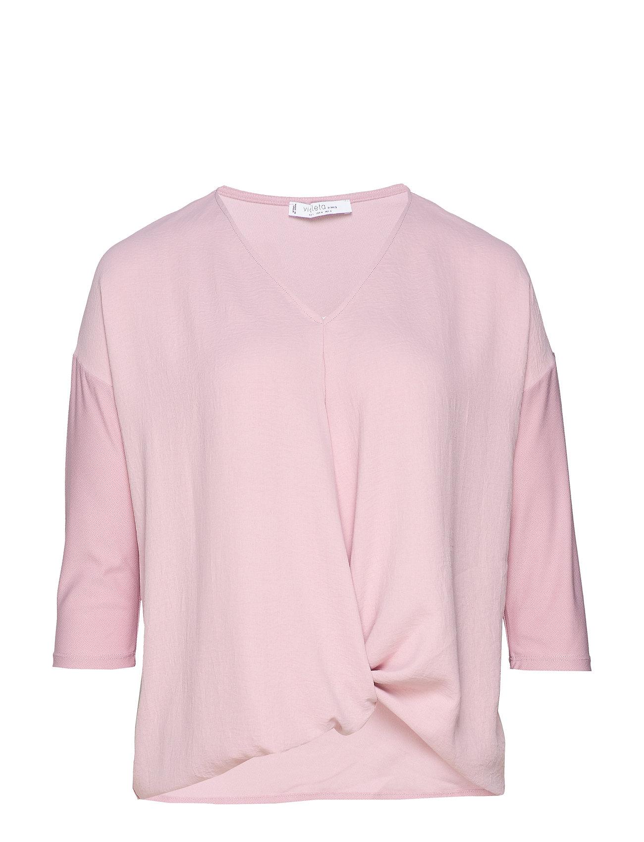 Violeta by Mango Knot detail t-shirt - LT-PASTEL PINK