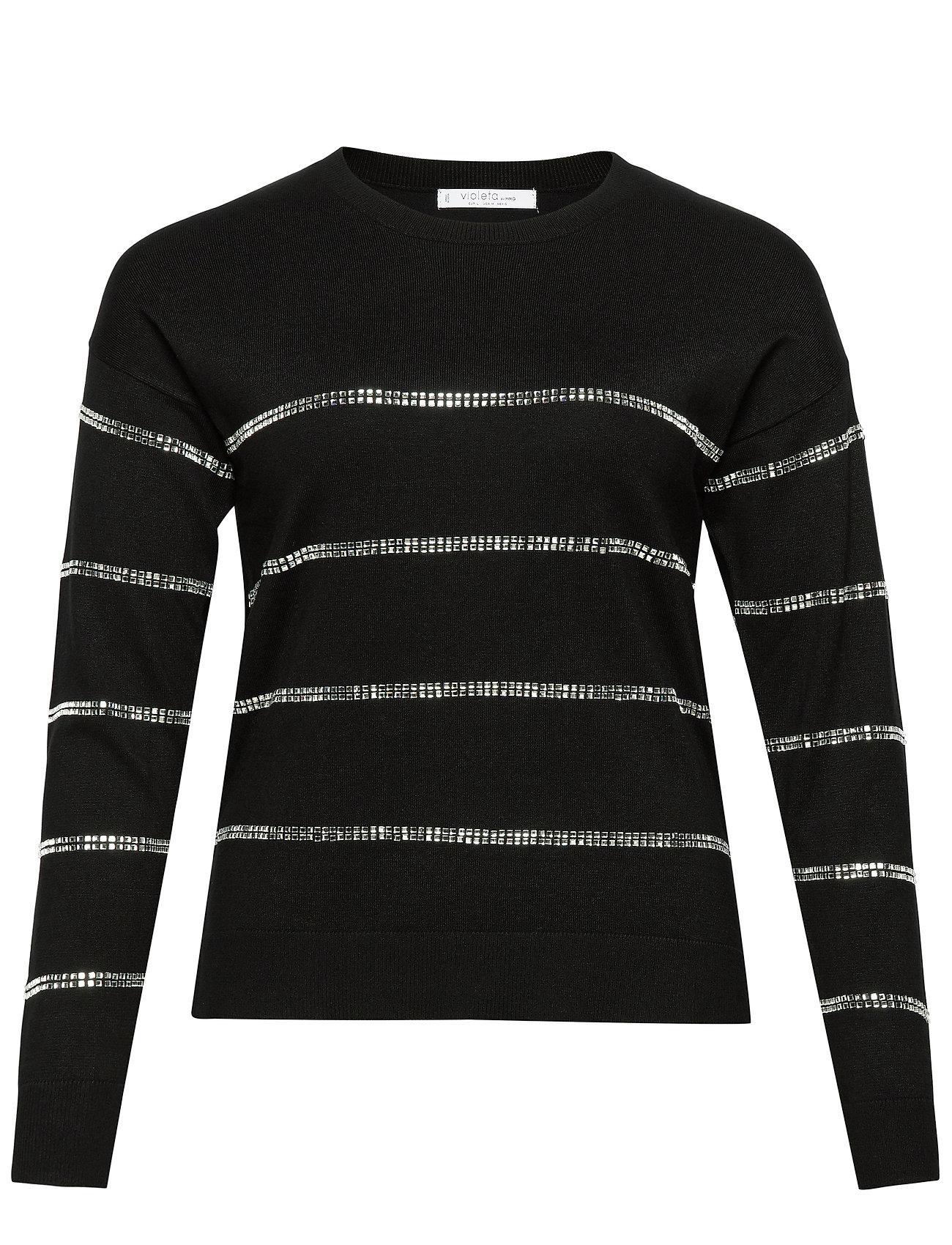 Violeta by Mango Metallic appliqus sweater - BLACK