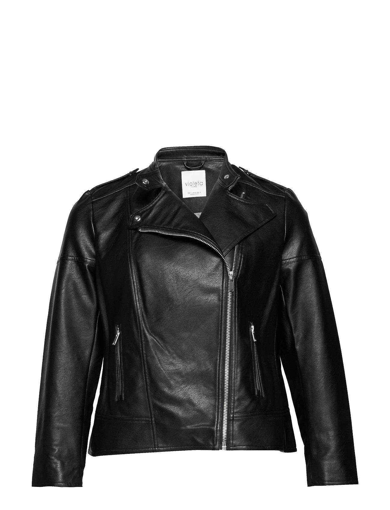 Violeta by Mango Zipped biker jacket - BLACK