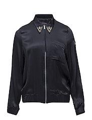 Appliqus satin bomber jacket - NAVY