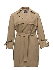 Pleated sleeve trench - MEDIUM BROWN