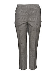 Prince of Wales linen-blend trousers - GREY