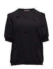 Appliques cotton sweatshirt - BLACK