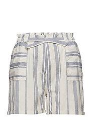 Striped linen-blend bermuda shorts - NATURAL WHITE