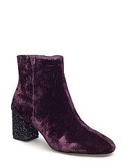 Glitter heel velvet ankle boot - MEDIUM PURPLE