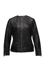 Ruffled leather jacket - BLACK