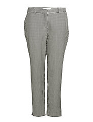 Gingham check pattern trousers - BLACK