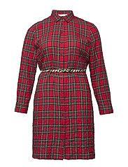 Check belt dress - RED