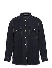 Contrasting seams modal-blend shirt - NAVY