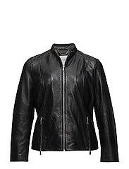 Zip leather jacket - BLACK