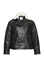 Shearling collar jacket - BLACK