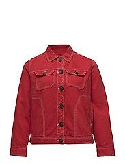 Contrasted seams denim jacket - RED