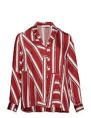 Striped pyjama-style shirt - RUST - COPPER