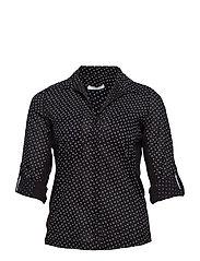 Chest-pocket printed shirt - BLACK