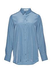 Satin finish flowy shirt - TURQUOISE - AQUA