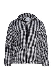 Gingham check quilted jacket