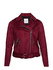 Suede effect jacket - MEDIUM RED
