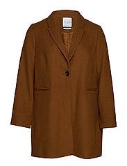 Lapels wool coat - DARK BROWN