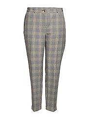 Slim-fit check-print trousers - LIGHT BEIGE