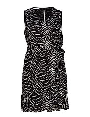 Zebra Printed Dress Kort Klänning Svart VIOLETA BY MANGO