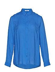 Butt D Flowy Shirt Långärmad Skjorta Blå VIOLETA BY MANGO