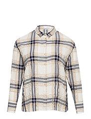 Textured check shirt - MEDIUM BLUE