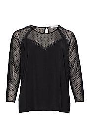 Plumeti panel blouse - BLACK