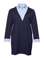 Combined shirt dress - NAVY