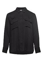 Flap pocketed shirt - BLACK