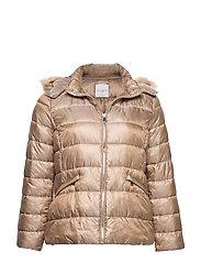 Detachable hood coat - LIGHT BEIGE